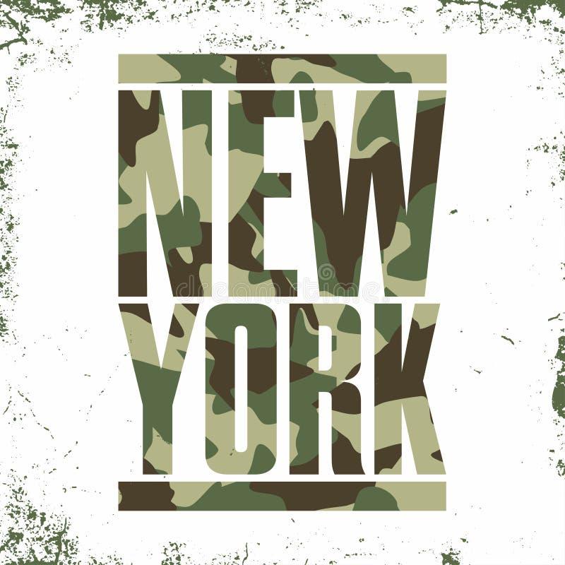 Tipografía del camuflaje para la impresión de la camiseta Nueva York, equipo universitario, gráficos atléticos de la camiseta stock de ilustración