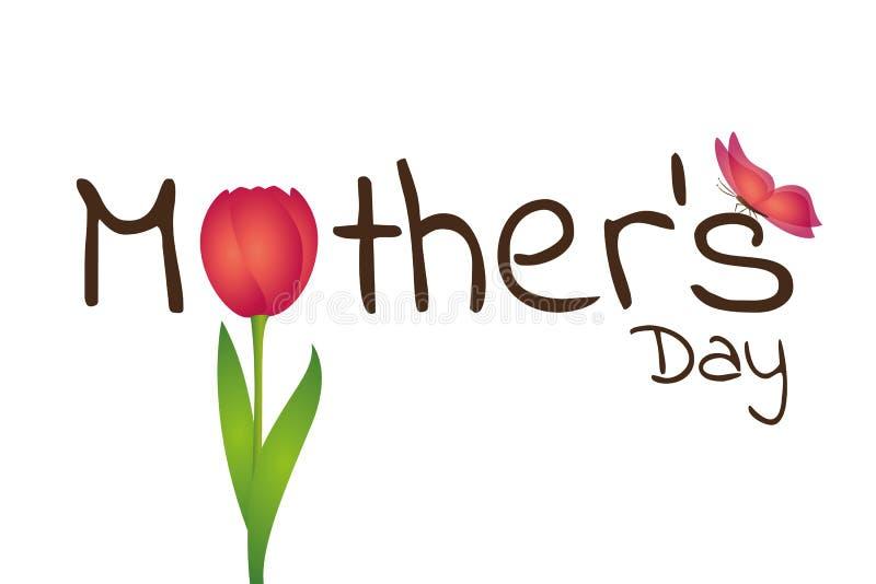 Tipografía del día de madres con el tulipán y la mariposa rojos libre illustration