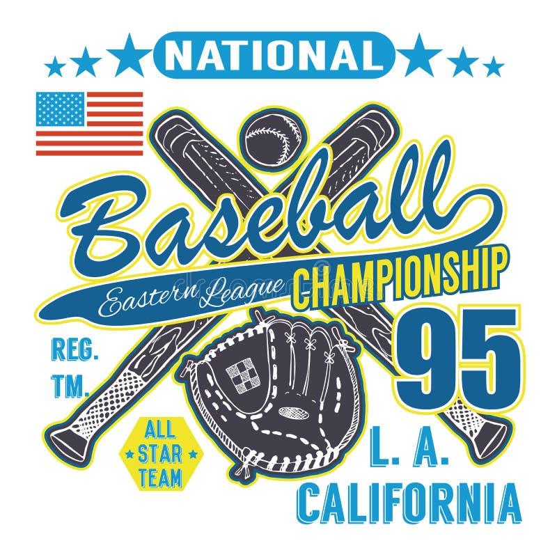 Tipografía del deporte del béisbol, liga del este Los Ángeles, bosquejo de los gráficos cruzados del diseño de la impresión de la libre illustration