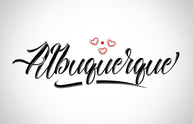 tipografía del diseño de la ciudad de Albuquerque con el logotipo rojo del icono del corazón stock de ilustración