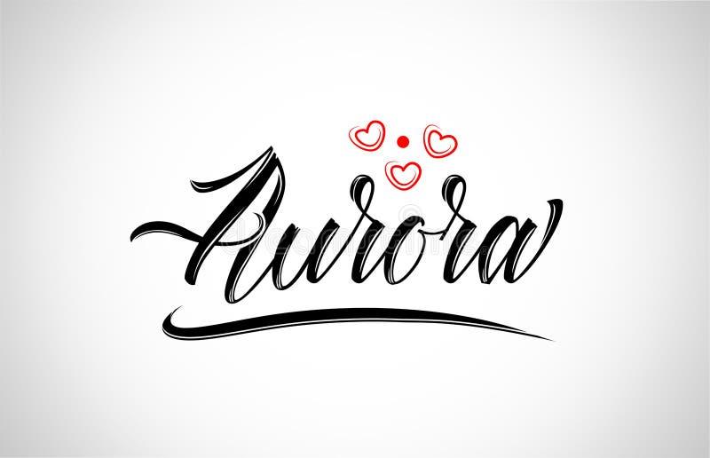 tipografía del diseño de la ciudad de la aurora con el logotipo rojo del icono del corazón ilustración del vector