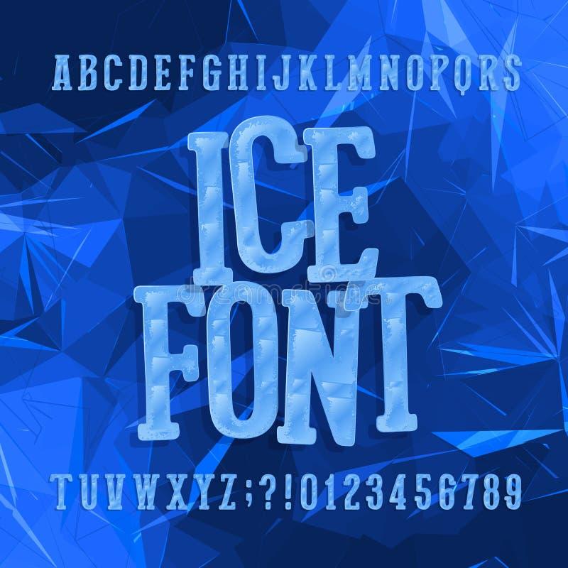 Tipografía del hielo Fuente del alfabeto Letras y números Fondo azul abstracto stock de ilustración