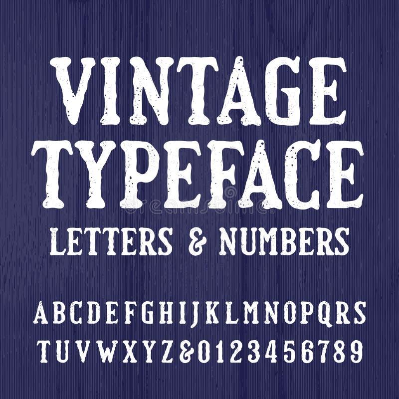 Tipografía del vintage Fuente retra del alfabeto Mecanografíe las letras y los números en un fondo de madera áspero stock de ilustración
