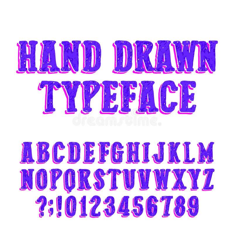 Tipografía drenada mano Fuente del alfabeto del vector Letras mayúsculas del bosquejo libre illustration