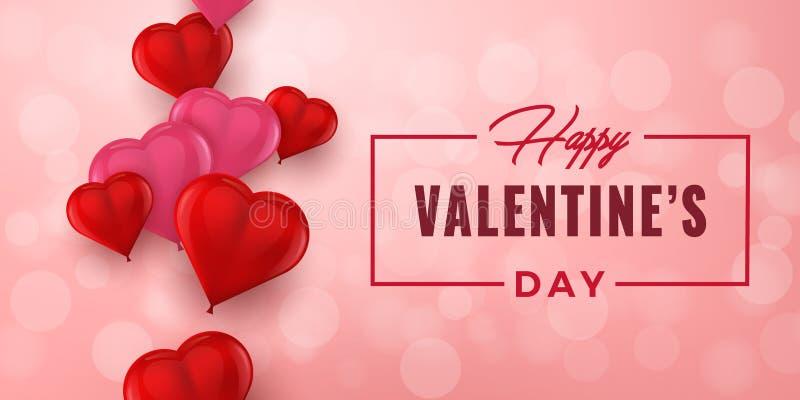 Tipografía exhausta de la mano de día de San Valentín con los corazones 3D Tarjeta de felicitación del día de fiesta, cartel, ban ilustración del vector