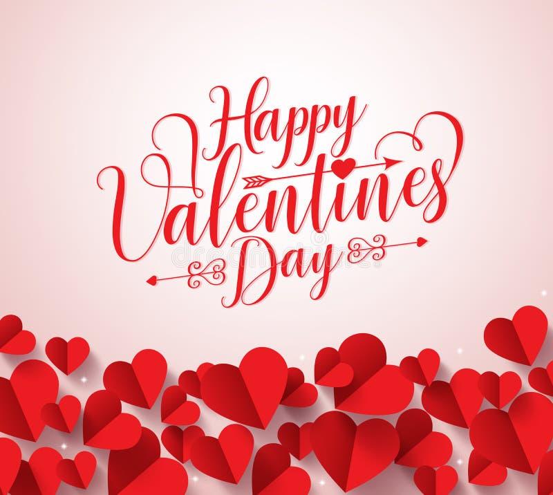 Tipografía feliz de los saludos del día de tarjetas del día de San Valentín en el fondo blanco libre illustration