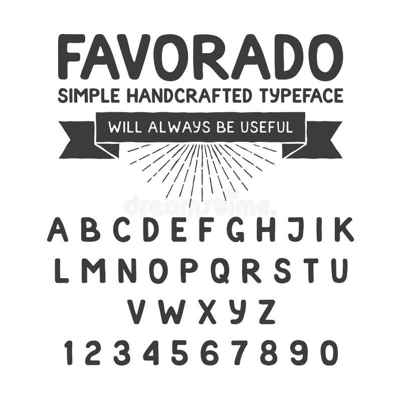 Tipografía handcrafted simple, alfabeto stock de ilustración