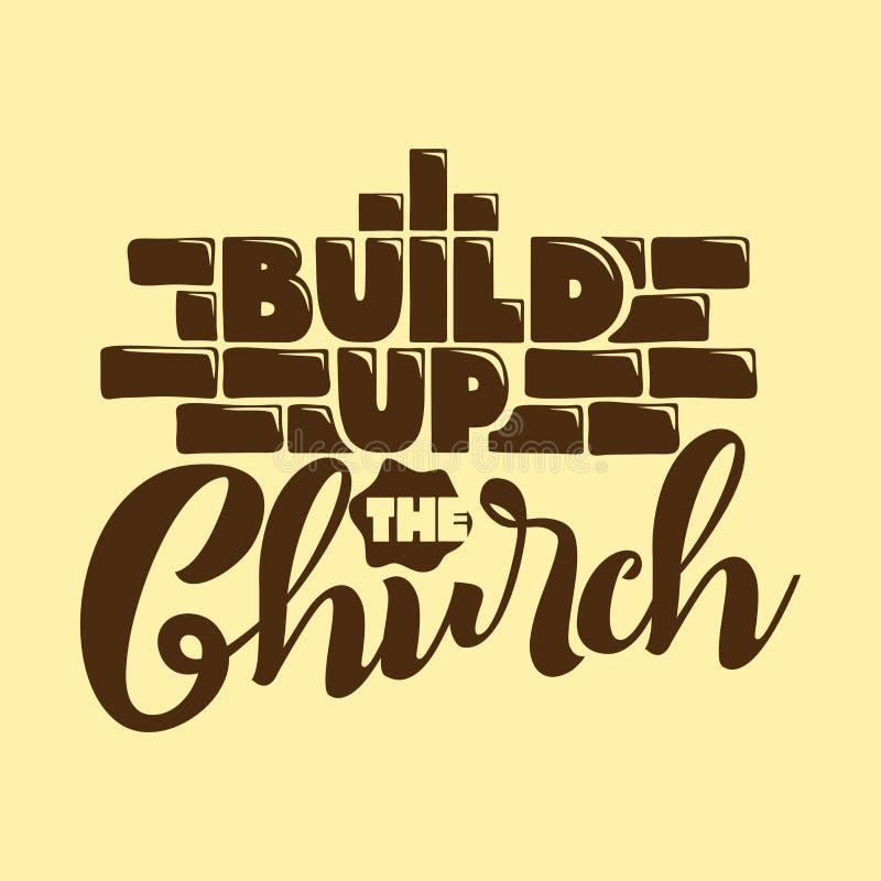 Tipografía, letras y ejemplo cristianos Buil encima de la iglesia libre illustration
