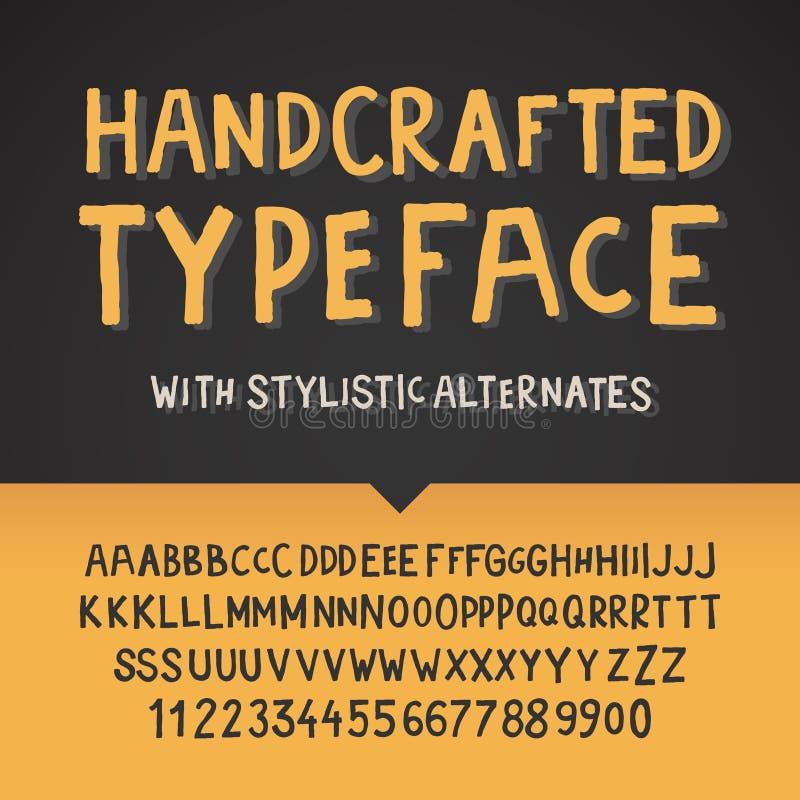 Tipografía, letras y números Handcrafted stock de ilustración