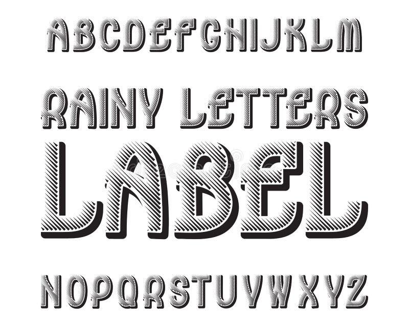 Tipografía lluviosa de la etiqueta de las letras Fuente que pone en contraste negra Alfabeto inglés aislado ilustración del vector