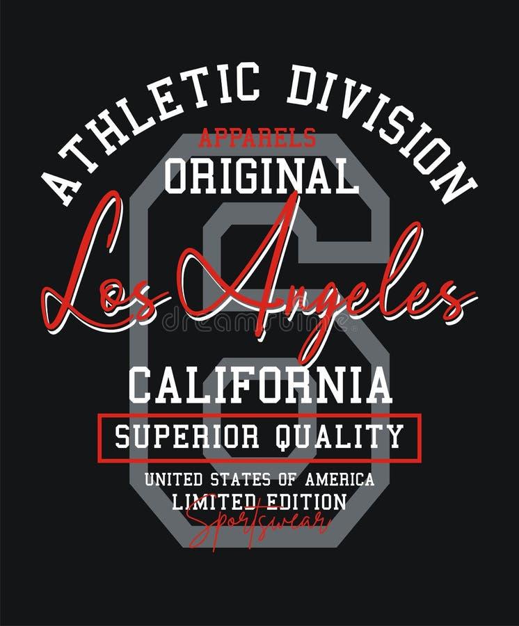 Tipografía Los Angeles, equipo universitario, para las ropas y los gráficos de la impresión de la camiseta, emblema, vectores ilustración del vector
