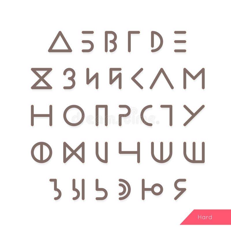 Tipografía mínima del cirílico del inconformista Alfabeto ruso Letras geométricas lineares fijadas Fuente de la luz, media y dura libre illustration