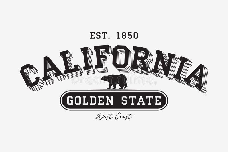 Tipografía moderna de California para la camiseta Camiseta de la universidad de California con el oso grizzly Lema del Golden Sta stock de ilustración