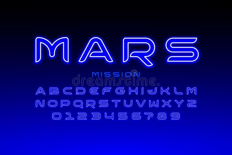 Tipografía moderna del estilo del espacio ilustración del vector
