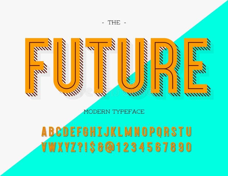 Tipografía moderna futura Estilo colorido de la fuente para el cartel ilustración del vector