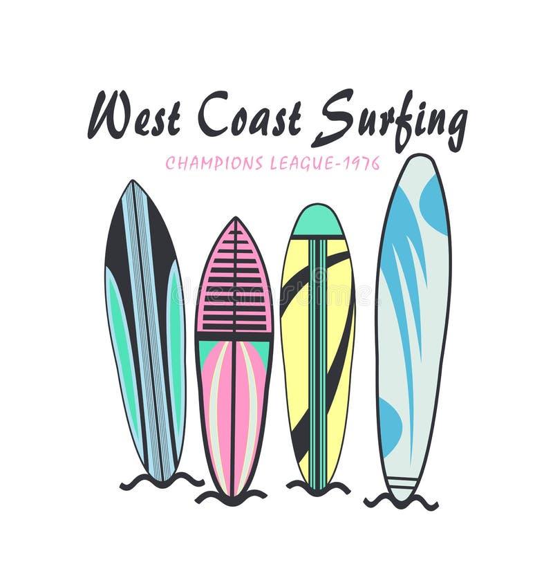tipograf?a que practica surf de la ?costa oeste ?, dise?o de la camiseta ilustración del vector