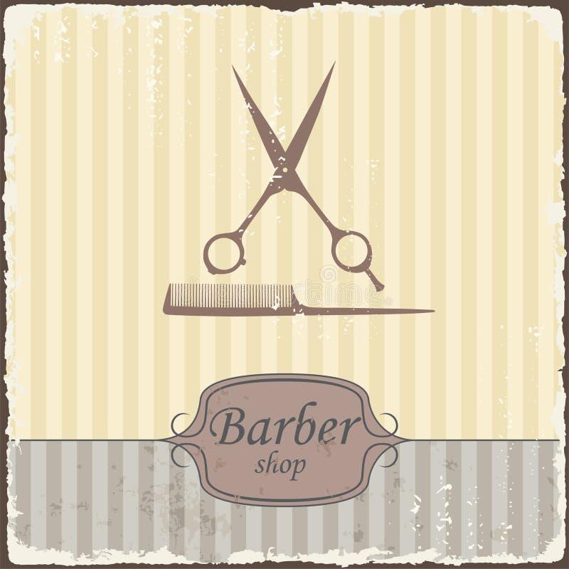 Tipografía retra del vintage de la peluquería de caballeros Vector stock de ilustración