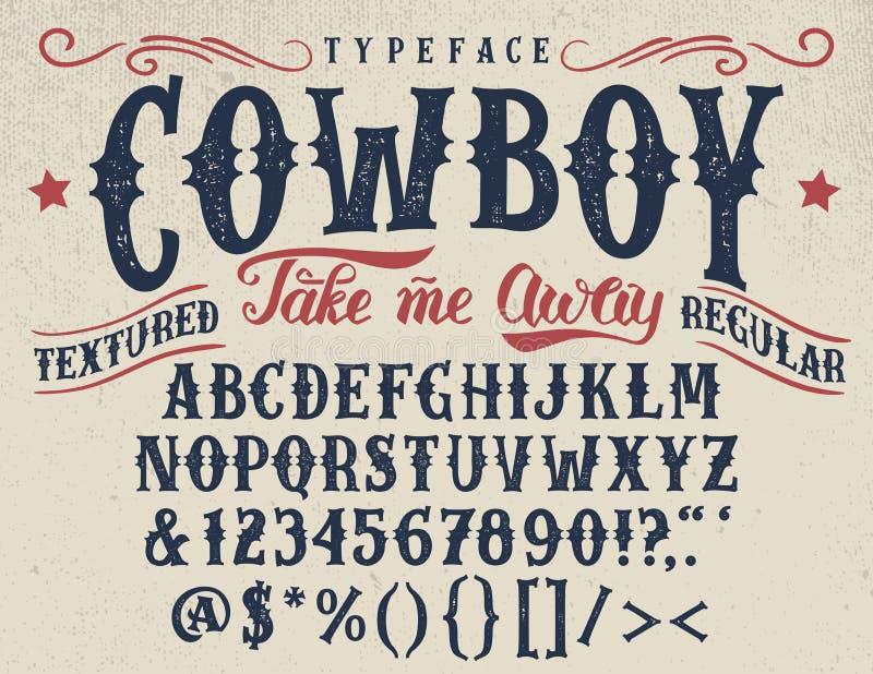 Tipografía texturizada retra handcrafted vaquero stock de ilustración