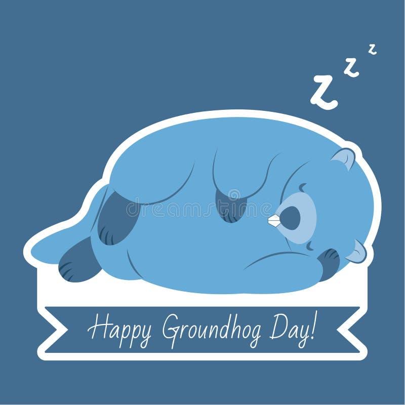 Tipografía y diseño felices del día de la marmota con el carácter lindo del groundhog fotos de archivo libres de regalías