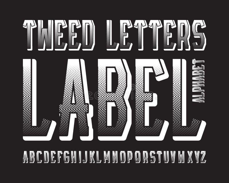 Tipograf?a de la etiqueta de las letras del tweed Fuente que pone en contraste blanca Alfabeto ingl?s aislado libre illustration