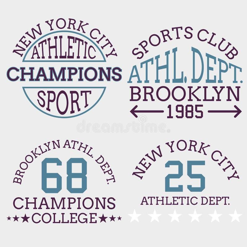 Tipografia atlética do logotipo do nyc, gráficos do t-shirt Illustrat do vetor ilustração do vetor