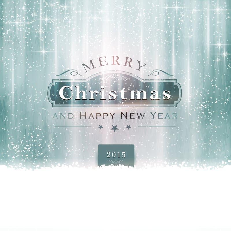 Tipografia azul de prata do Feliz Natal ilustração royalty free