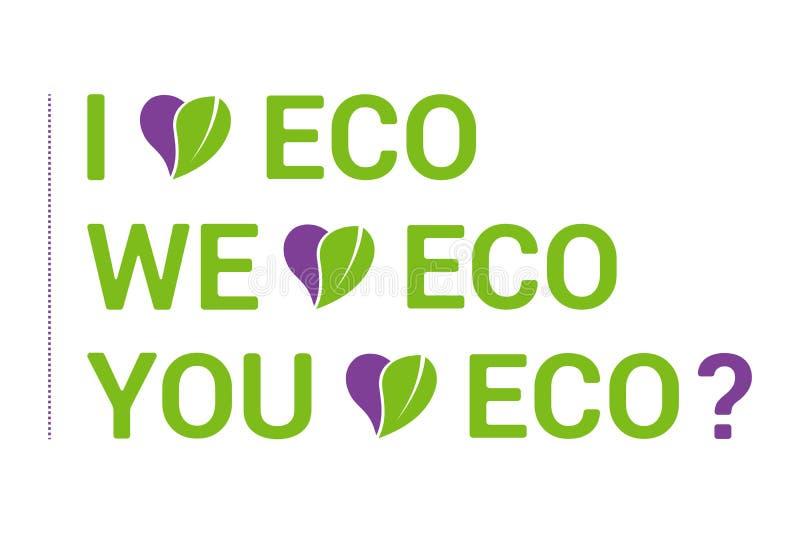Tipografia colorida eu amo o grupo de Eco, coração com licença orgânica verde ilustração do vetor