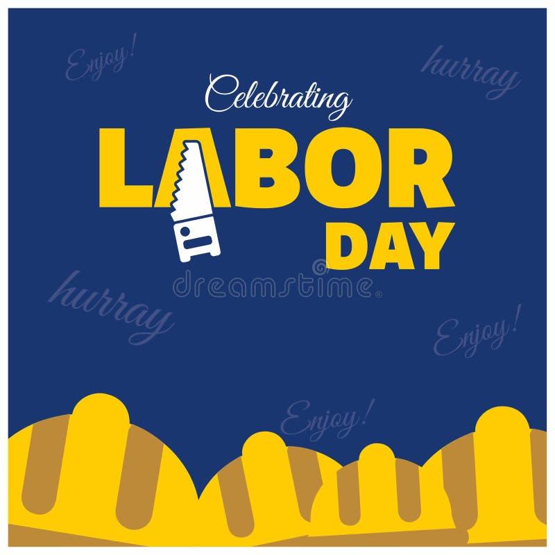 Tipografia creativa di festa del lavoro felice con i caschi dei lavoratori su un Bl illustrazione di stock