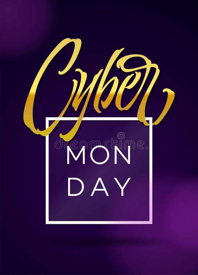 Tipografia cyber di lunedì Modello promozionale dell'insegna con la composizione nell'iscrizione illustrazione di stock
