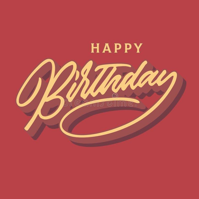 Tipografia d'annata dell'iscrizione della mano di buon compleanno che celebra progettazione di carta illustrazione vettoriale