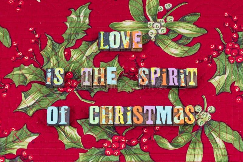 Tipografia da esperança da alegria do Natal do espírito do amor imagens de stock royalty free
