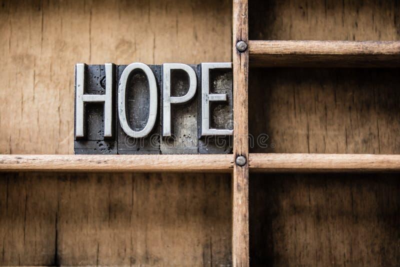 A tipografia da esperança datilografa dentro a gaveta fotografia de stock