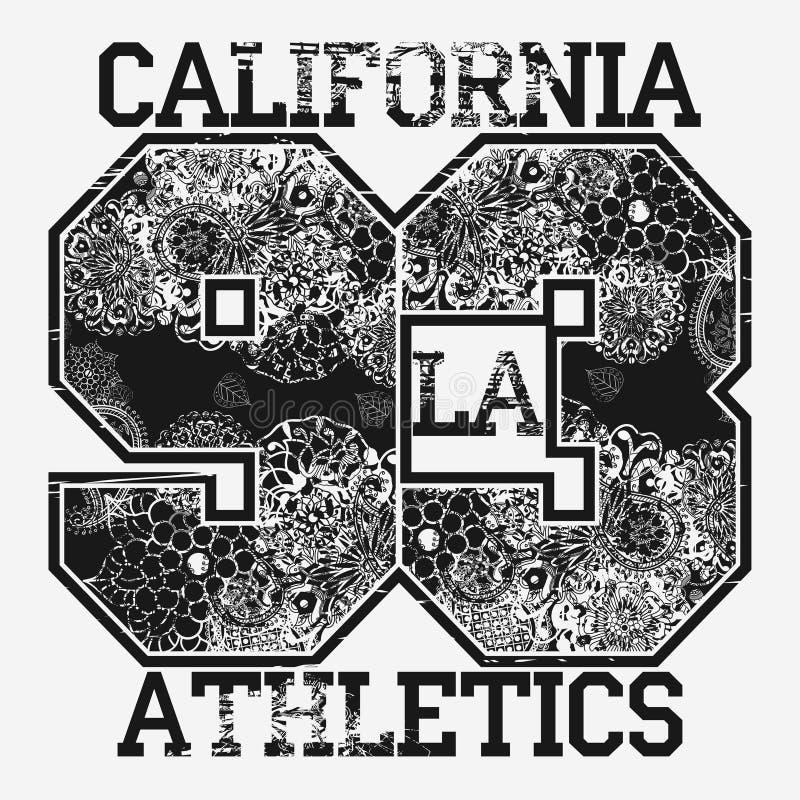 Tipografia da forma do t-shirt de Califórnia ilustração do vetor