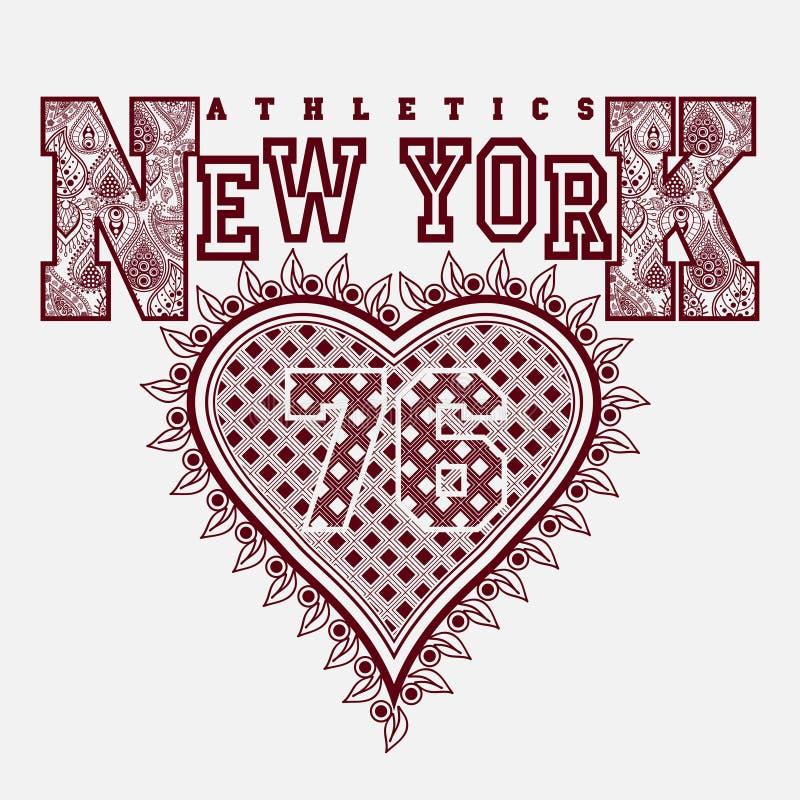 Tipografia da forma do t-shirt de New York ilustração stock