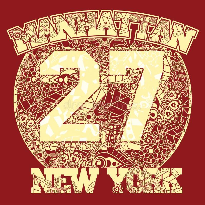 Tipografia da forma do t-shirt de New York ilustração royalty free