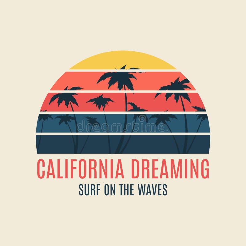 Tipografia da ilustração da ressaca de Califórnia com um por do sol ilustração stock