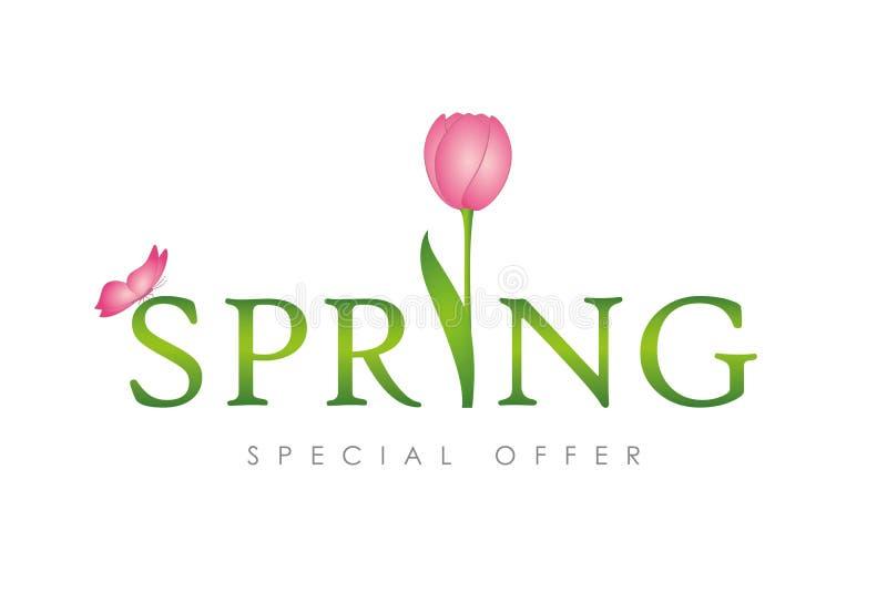 Tipografia da mola com borboleta e a tulipa cor-de-rosa ilustração royalty free