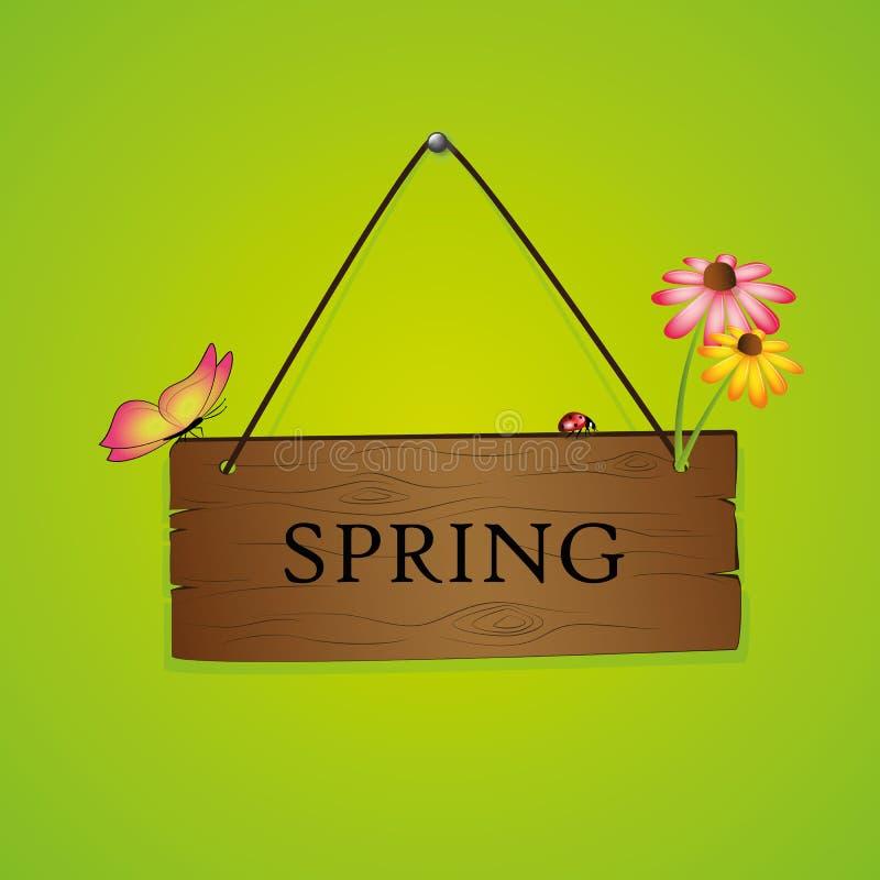 Tipografia da mola no sinal de madeira com flor e a borboleta de florescência no fundo verde ilustração stock
