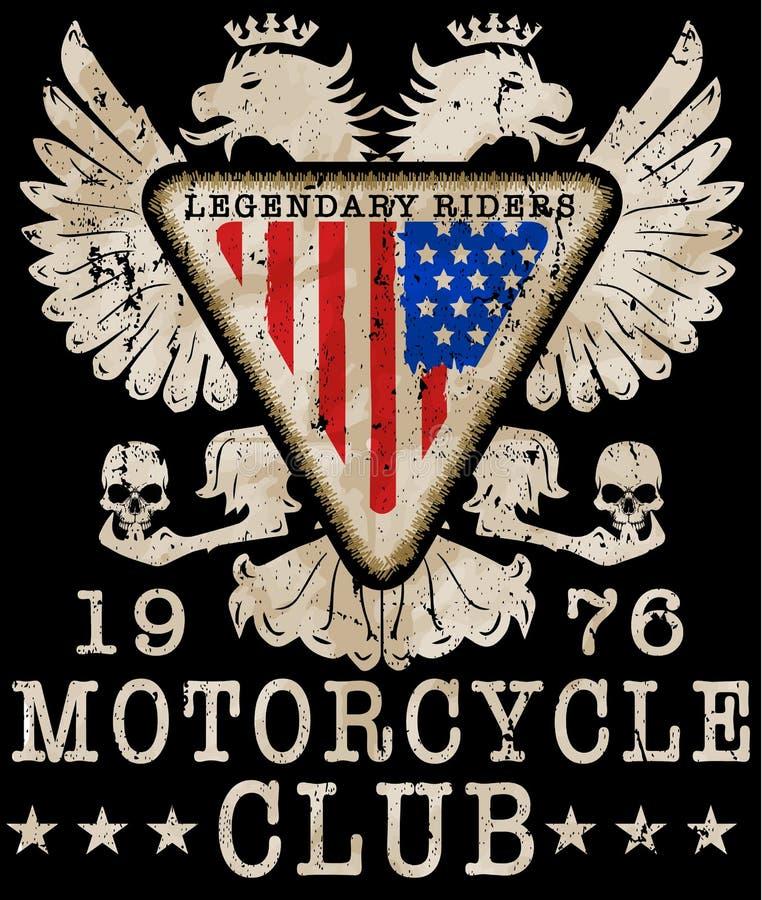 Tipografia da motocicleta, gráficos do t-shirt, vetores ilustração do vetor