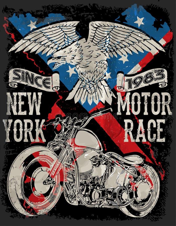 Tipografia da motocicleta; motor do vintage; gráficos do t-shirt; vetores ilustração royalty free