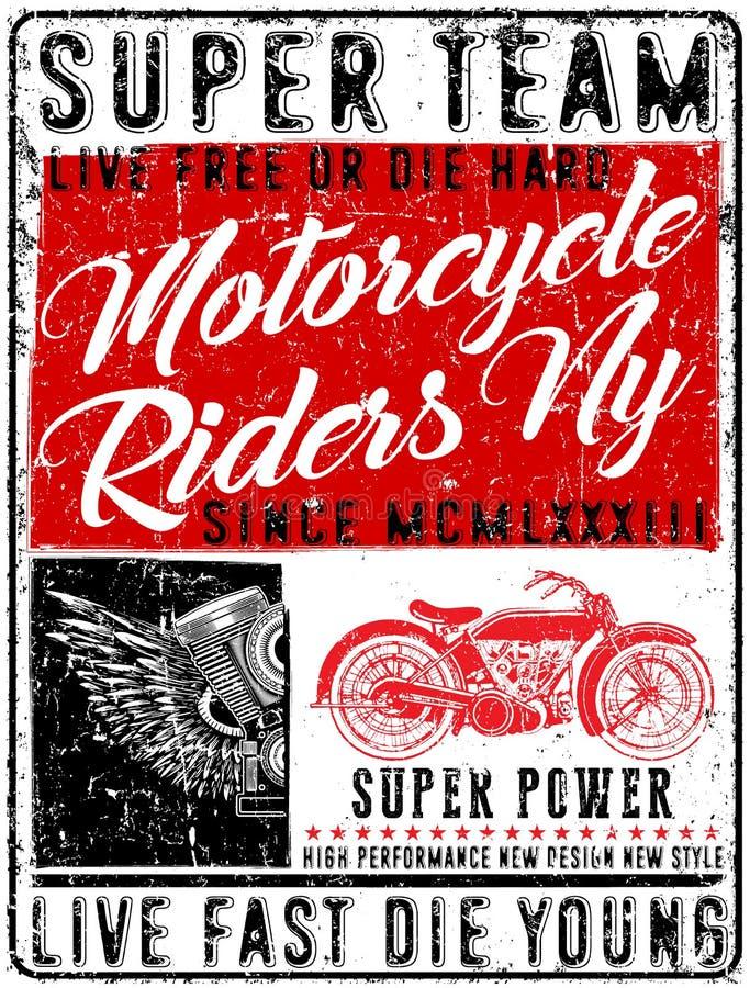 Tipografia da motocicleta, motor do vintage, gráficos do t-shirt, vetores ilustração do vetor