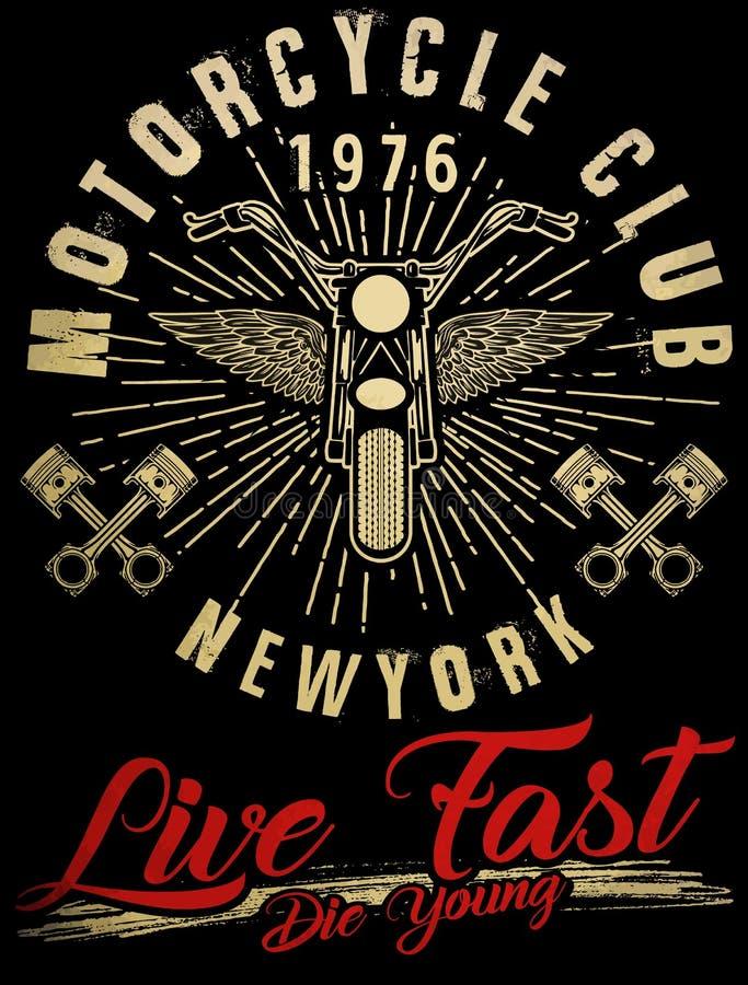Tipografia da motocicleta, motor do vintage, gráficos do t-shirt, vetores ilustração stock