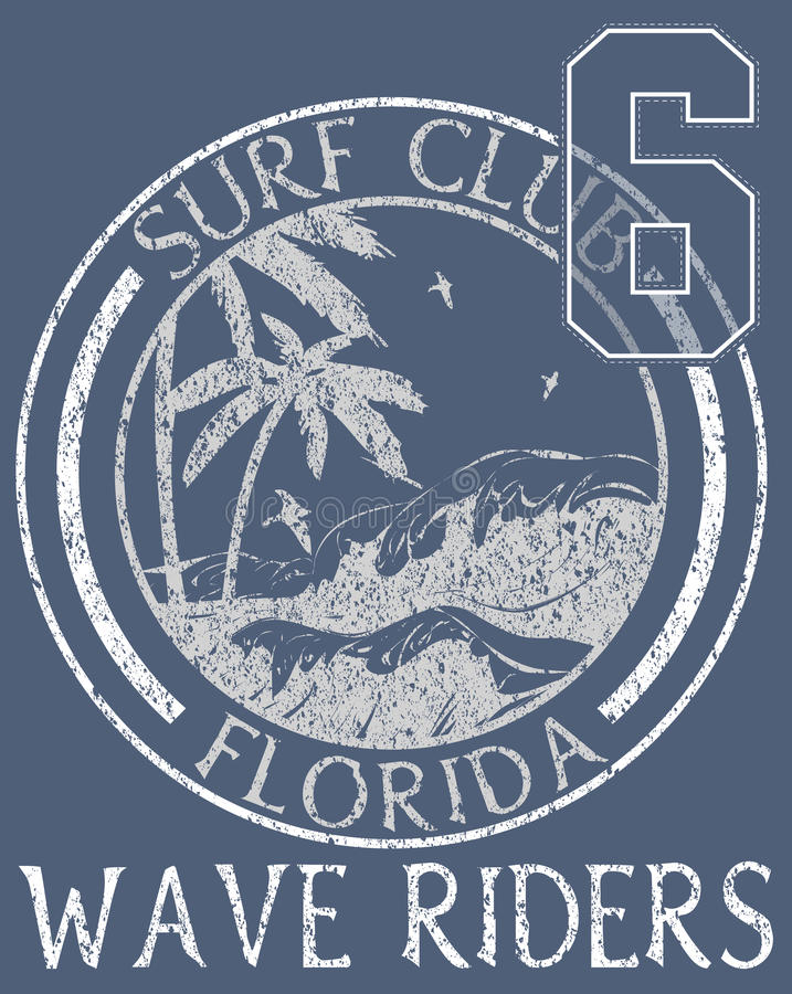 Tipografia da praia de Florida, gráficos do t-shirt, vetores ilustração stock