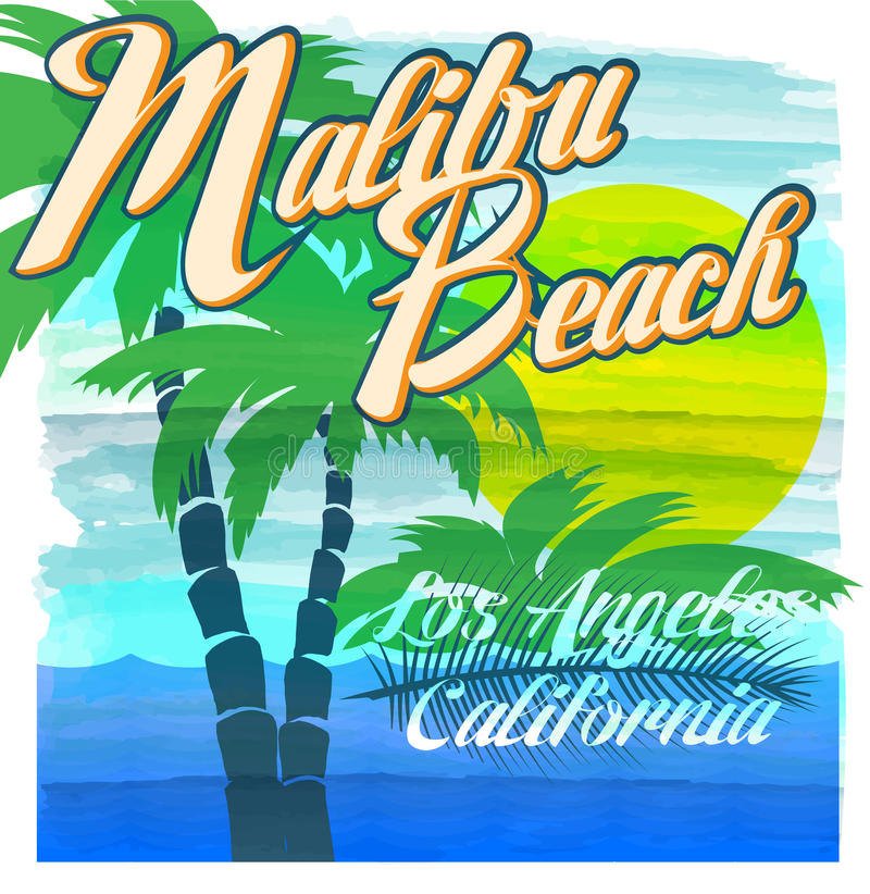Tipografia da praia de Malibu, gráficos do t-shirt, vetores ilustração stock