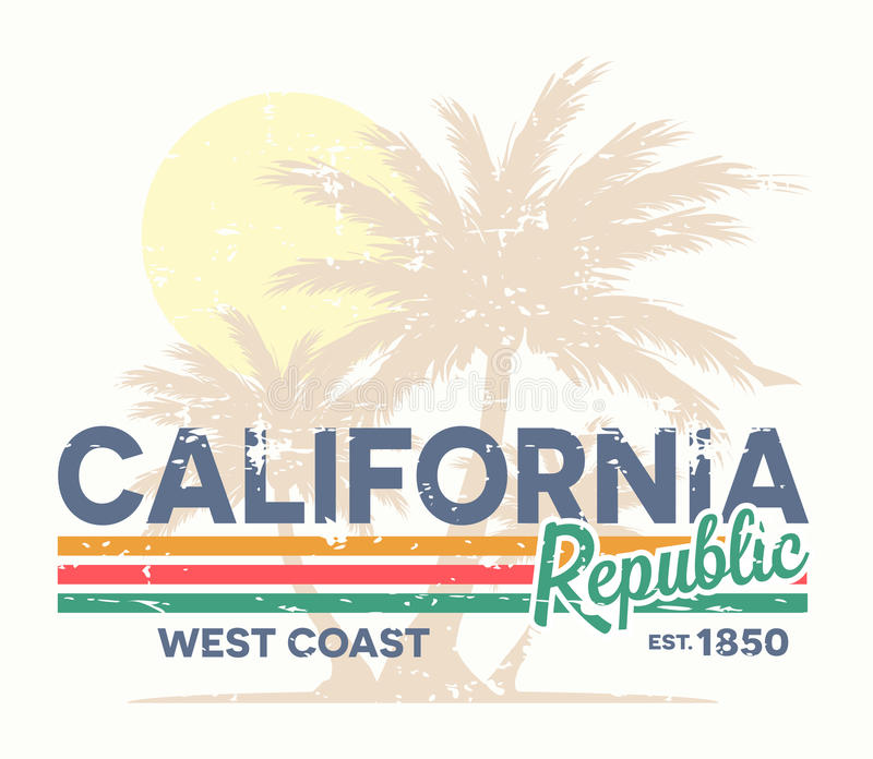 Tipografia da república de Califórnia Cópia do T do vintage ilustração stock