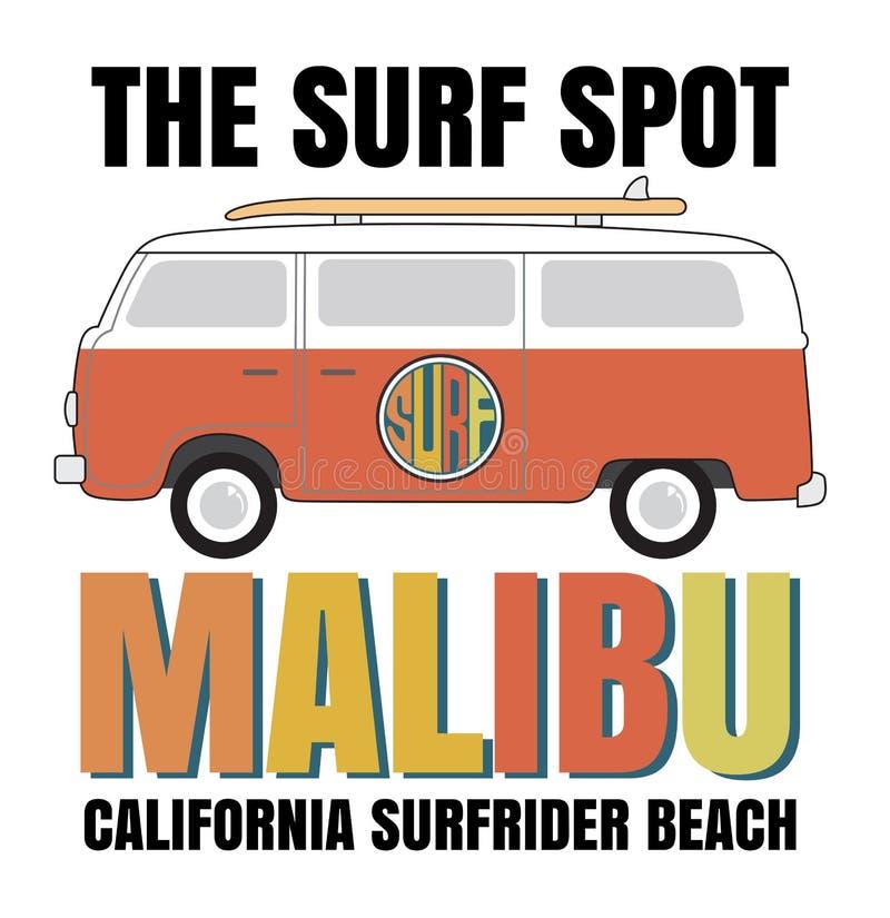 Tipografia da ressaca de Malibu, gráficos do t-shirt, vetores ilustração stock