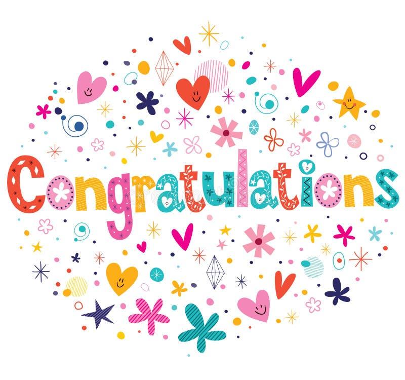 Tipografia das felicitações que rotula o projeto de cartão decorativo do texto ilustração stock
