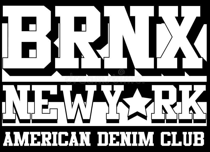 Tipografia de Bronx New York, gráficos do t-shirt, vetores ilustração do vetor