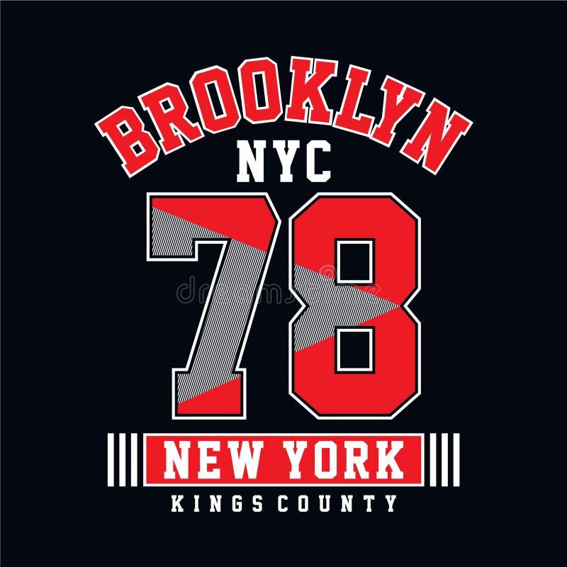Tipografia de Brooklyn da faculdade, gráficos do t-shirt ilustração do vetor