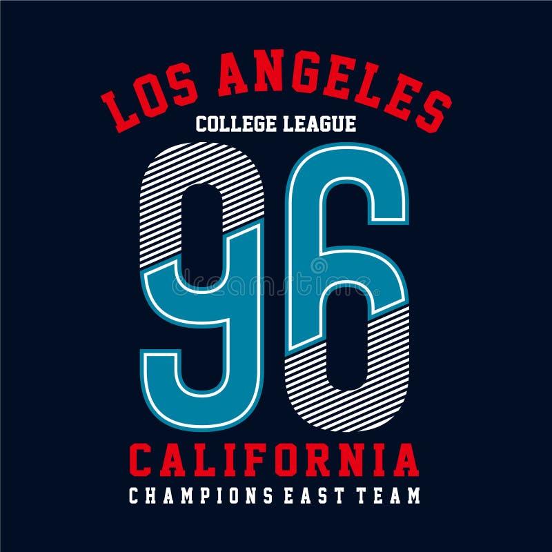 Tipografia de Califórnia do esporte atlético, gráficos do t-shirt ilustração stock